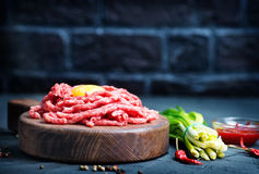 Raw minced meat. On plate and on a table Royalty Free Stock Photography