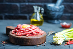Raw minced meat. On plate and on a table Stock Photos