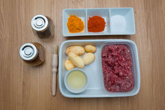 Raw minced meat with spices Stock Photos