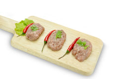Raw minced pork on cutting board,clipping path Stock Photos