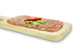 Raw minced pork on cutting board,clipping path Stock Image