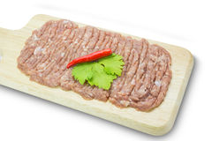 Raw minced pork on cutting board,clipping path Royalty Free Stock Photography