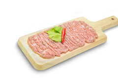 Raw minced pork on cutting board,clipping path Stock Photo
