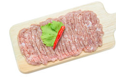 Raw minced pork on cutting board,clipping path Stock Photography