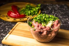 Raw minced pork in a glass bowl royalty free stock photos