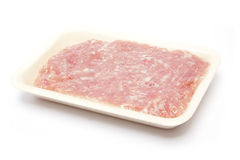 Raw minced pork. On styrofoam container Stock Image