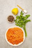 Raw minced red fish stuffing on a stone background. Ingredient for making fish-balls, casseroles, terrine, pate. Spices, salt,