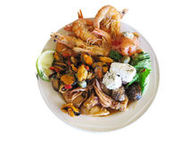 Raw Mixed seafood shrimps, octopus and mussels on dish Stock Photography
