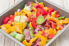 Raw mixed vegetables ready for roasting Royalty Free Stock Photos