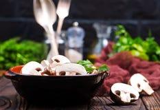 Raw mushroom Stock Photos