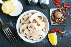 Raw mushroom Stock Photo