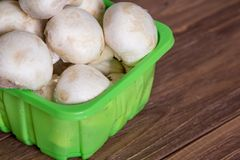 Raw mushrooms in the green plastic container on the wooden table. Side view. Raw mushrooms in blue plastic container isolated on white background. Side view Stock Photography