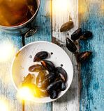 Raw Mussels Clams in colander and Rose Wine. Raw Mussels Clams in vintage ceramic colander and Rose Wine in ice bucket on blue wooden background Royalty Free Stock Photo