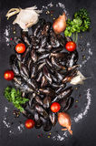 Raw mussels with tomatoes and spices on dark slate background Royalty Free Stock Photos