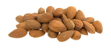 Raw natural almonds on a white background Royalty Free Stock Photo