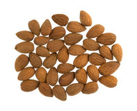 Raw natural almonds on a white background Royalty Free Stock Photos