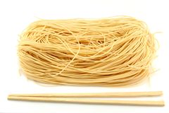 Raw Noodle and chopstick Stock Photo