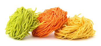 Raw noodle. Raw homemade pasta, isolated on white Royalty Free Stock Photos