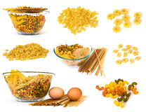 Raw noodles collection Royalty Free Stock Images