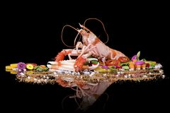 Raw Norway lobster with vegetables on a black background with reflection stock photos