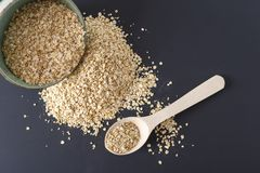 Raw oat flakes in a plate and on a dark surface. Raw porridge in a plate and on a dark surface with a wooden spoon Royalty Free Stock Photos