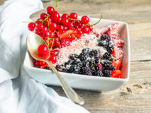 Raw oatmeal with strawberry puree and assorted berries and cocon Royalty Free Stock Image