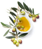 Raw olives and olive oil Stock Photo