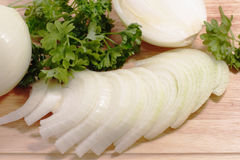 Raw onion and parsley Royalty Free Stock Photos