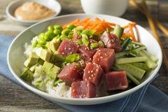 Raw Organic Ahi Tuna Poke Bowl Royalty Free Stock Image