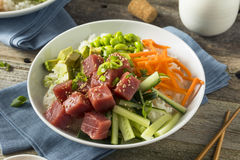 Raw Organic Ahi Tuna Poke Bowl. With Rice and Veggies Royalty Free Stock Images