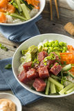 Raw Organic Ahi Tuna Poke Bowl. With Rice and Veggies Stock Photo