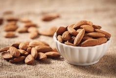 Raw Organic Almonds Royalty Free Stock Photos