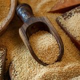 Raw Organic Amaranth grain. On a dark table Royalty Free Stock Photo