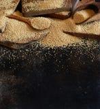 Raw Organic Amaranth grain. On a dark table Royalty Free Stock Image