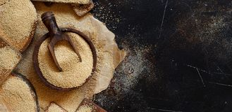 Raw Organic Amaranth grain. On a dark table top vew Stock Photography