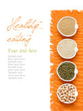 Raw Organic Amaranth and quinoa grains, chickpea and mung beans Royalty Free Stock Images