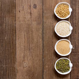 Raw Organic Amaranth and quinoa grains, wheat and mung beans Royalty Free Stock Images