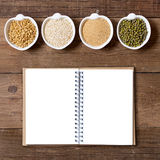 Raw Organic Amaranth and quinoa grains, wheat and mung beans Royalty Free Stock Photography