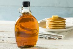 Raw Organic Amber Maple Syrup. From Canada stock image