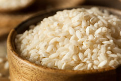 Raw Organic Arborio Rice. In a Bowl Stock Photography