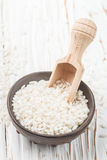 Raw Organic Arborio Rice in a Bowl Stock Image