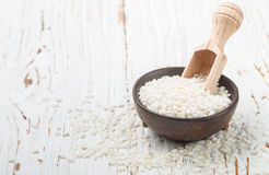 Raw Organic Arborio Rice in a Bowl. Selective focus Stock Photos