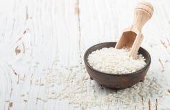 Raw Organic Arborio Rice in a Bowl Stock Photos