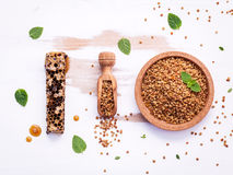 Raw organic bee pollen on shabby wooden board. Bee pollen granul Stock Images