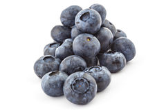 Raw organic blueberries. Pile of fresh ripe organic blueberries isolated on a white background Stock Photography