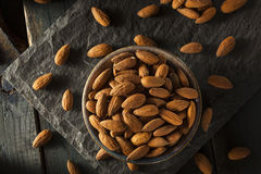 Raw Organic Brown Almonds Royalty Free Stock Photos