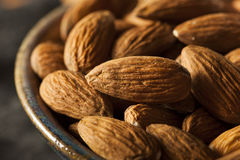 Raw Organic Brown Almonds Royalty Free Stock Photography