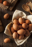 Raw Organic Brown Eggs Stock Image