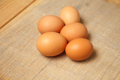 Raw Organic Brown Eggs. Chicken Raw Organic Brown Eggs close up Stock Photo
