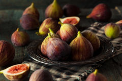 Raw Organic Brown Figs. In a Bowl Stock Photo